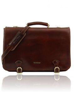 ANCONA TL10025 Leather messenger bag large size - Cartella in pelle misura grande