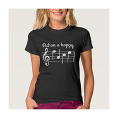 Put on a Happy Face Music Notes Shirt ($31) ❤ liked on Polyvore featuring tops, t-shirts, shirts & tops and t shirts