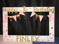 pink gold birthday party photo booth frame by funpartyframes
