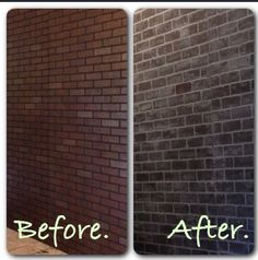 Faux brick wall  Brick paneling from Lowes Covered with white chalk paint (recipe below) to cover the black grout.   Paint the grout and blend it the bricks. Allow to dry and wash off bricks.  Chalk paint recipe 1 cup of white paint (acrylic craft paint or flat interior paint) 1 tbsp plaster of Paris powder  2 tbsp water.  I made 4 cups and have a lot left for my next project.