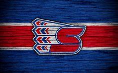 Download wallpapers 4k, Spokane Chiefs, logo, WHL, hockey, Canada, emblem, wooden texture, Western Hockey League