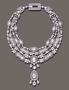 Cartier, ca. 1908 (Doris Duke Collection) ~ James B. Duke purchased this diamond & gold necklace from Cartier on December 24, 1908, for 18,500 fr. Mr. Duke collaborated w/ Cartier & supplied some of the diamonds. Christie's handled the sale of the Doris Duke Collection in June 2004