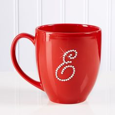 9874 - Rhinestone Monogram Personalized Red Mug