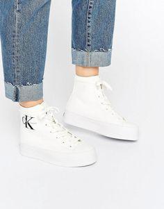 Calvin Klein | Calvin Klein Jeans Zabrina White Canvas Hi Top Trainers at ASOS