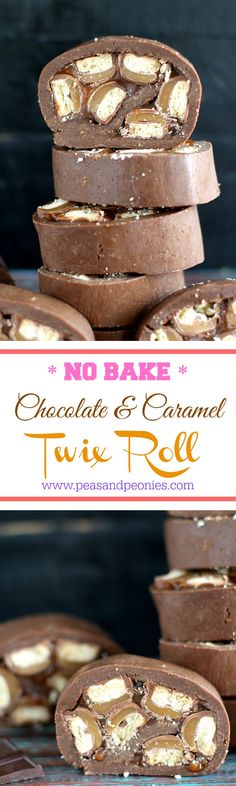 No Bake Twix Roll with Caramel - Use that Halloween candy in this fun, no bake Twix roll with homemade caramel and a chocolaty cookie layer to create a decadent dessert. Peas and Peonies