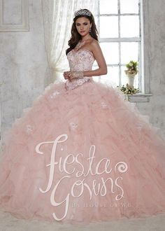 3763d2025b1 Fiesta Quinceanera 56282 Ruffled tulle ball gown with flower appliqués  adorning the skirt and bodice and colorful beading along the strapless  sweetheart ...