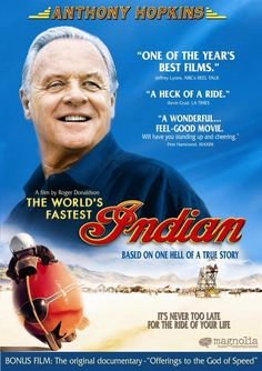 Based on the true story of Burt Munro, who broke the motorcycle land speed record. In the film, Munro meets a transsexual motel clerk, Tina Washington, who helps Burt on his way to the Bonneville Salt Flats in Utah for Speed Week. Burt Munro, Utah, Sir Anthony Hopkins, Alec Guinness, I Love Cinema, World Records, Robert Downey Jr, Great Movies, Excellent Movies
