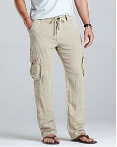 Mens Cotton Gauze Capri - Men's Short 100 % Linen.Adjustable ...
