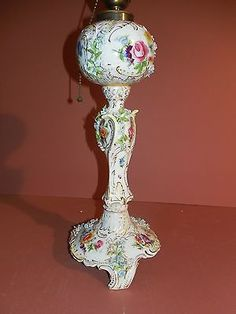 "Antique Carl Thieme German / Dresden 12"" Hand Painted Table Lamp w/ app. Flowers"