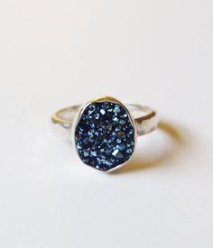 Blue Titanium Crystal Ring OOAK Sterling Silver by friedasophie