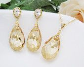 Bridal Necklace Bridal Earrings Matte Rodium plated Cubic zirconia bail with (Huge) Golden Shadow Swarovski Crystal drops Bridal Jewelry Set
