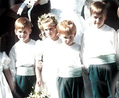1989-04-16 William and Harry act as pageboys at the Wedding of Diana's cousin, Edward Berry to Joanna Leschallas, in Cranbrook, Kent