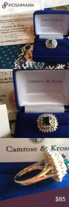 Camrose & Kross JBK ring Camrose & Kross authentic reproduction of Jacqueline Bouvier Kennedy's emerald/diamond gold ring.  Brand new/never worn.  Actually made with .925 silver. Camrose&Kross Jewelry Rings