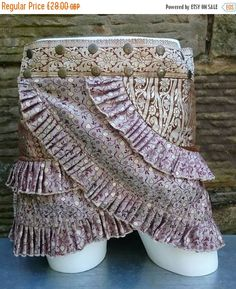 ON SALE M-L, , Candy floss,Silver Brocade,  Silk Sari Ruffle Skirt