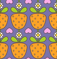 Kinder Stoff Stoffdesign Mädchen Erdbeeren Früchte Obst Blumen Herzen orange rosa pink weiß grün blau retro 60er 70er Jahre von fummelhummel auf stoffn.de Sandra Thissen Stoff bestellen unter www.stoffn.de/...