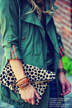 Shop this look for $110:  http://lookastic.com/women/looks/crew-neck-t-shirt-and-navy-jeans-and-beige-clutch-and-dark-green-anorak/915  — Camouflage Crew-neck T-shirt  — Navy Jeans  — Beige Leopard Clutch  — Dark Green Anorak