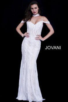d1c65cb822b Jovani 55251 Off Shoulder Gown and Choker