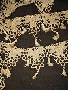 Handmade Edwardian 1920s Crochet Trim Yardage Points Tassels 2 Yards +