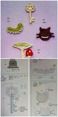Crochet Diagram, Crochet Motif, Crochet Yarn, Crochet Stitches, Crochet Patterns, Crochet Birds, Cute Crochet, Crochet Flowers, Hello Kitty Crochet