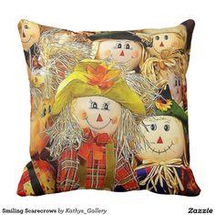 Smiling Scarecrows Throw Pillow