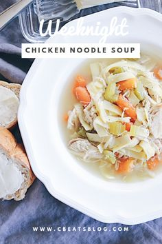 Easy for a hearty and comforting one-pot weeknight meal. Fettuccine Noodles, Chicken Base, Chicken Noodle Soup, Baby Carrots, Rotisserie Chicken, Weeknight Meals, Soups, Pasta, Recipes