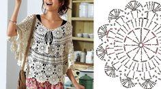 Blusa a crochet con gráfico y paso a paso