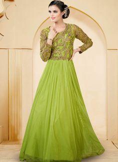 Green Net  Indowestern Gown With Zari Work