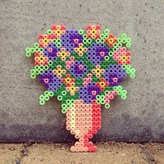 Floral bouquet perler beads by tamatek