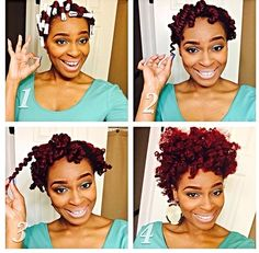 Twist & curl... Two-strand twists added perm rods and styled. Natural hair + color