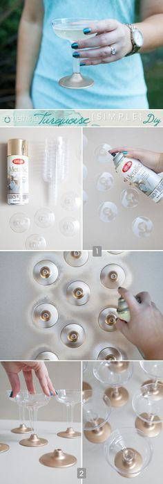 Easily jazz up boring plastic champagne cups with a coat of spray paint! #simpleDIY #somethingturquoise