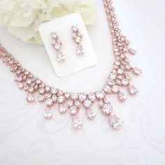 rose gold bridal statement necklace - bridal accessories