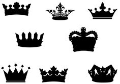 Crown Silhouette Vector Graphics…love the top middle one! Crown Silhouette, Silhouette Clip Art, Silhouette Projects, Crown Template, Mermaid Pictures, Daughters Of The King, Button Art, Cute Images, Art Pages