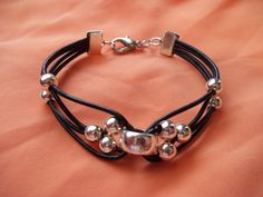 Greek Leather and Silver Bead Bracelet leather by JulesObsession