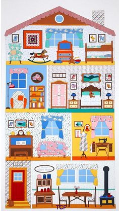 Kaffe Fassett's Quilts in the Cotswolds Quilt fabric online store Largest Selection, Fast Shipping, Best Images, Ship Worldwide Paper Doll House, Paper Houses, Diy And Crafts, Crafts For Kids, Paper Crafts, Paper Dolls Printable, Paper Doll Template, House Illustration, Illustrations