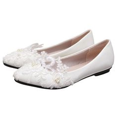 Women's White lace Comfortable Flats Bridal Shoes for Wedding, Big day, Anniversary, Engagement FSJ Design