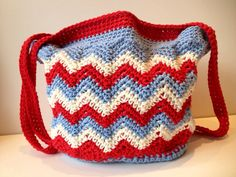 Chasing Chevrons Crochet Tote Bag by pigswife on Etsy.