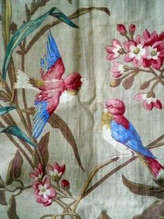 ANTIQUE FRENCH FABRIC LINEN FLOWERS NATURALIST BIRD INDIENNE
