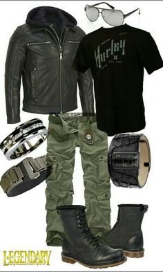 Men's black green casual grunge outfit