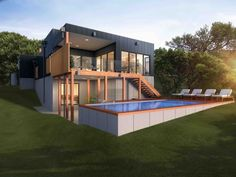 18 Ideas container house design on a slope for 33 best images about Home designs - Northlakes block 2016 . Shipping Container Swimming Pool, Container Pool, Container House Design, Landscaping On A Hill, Outdoor Landscaping, Cheap Pool, Australia House, Container Buildings, Garden Design Plans