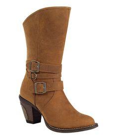 Tan Austin Triple Buckle Leather Boot - Women #zulily #zulilyfinds