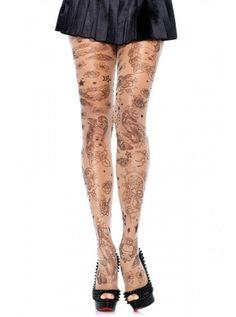 "Women's ""Nautical Tattoo"" Tights by Leg Avenue (Sheer/Black)"