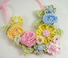 Fabric Flower Bib Necklace 2 PDF Tutorial ... por SundayGirlDesigns