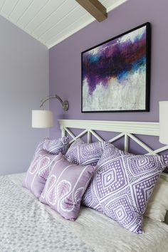 Idea House 2017 Purple Fly canvas wall art by PTM Images sets the tone in the soothing master bedroo Purple Master Bedroom, Purple Bedroom Decor, Bedroom Wall Colors, Bedroom Bed Design, Bedding Master Bedroom, Accent Wall Bedroom, Bedroom Color Schemes, Home Decor Bedroom, Purple Wall Decor