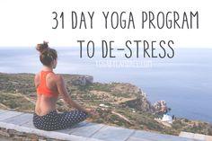 Pin now and join in - totally de-stress in 31 days! Wearing: kira grace leggings, athleta bra (similar).