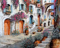 Steps Wall Art - Painting - Tanti Fiori Per Strada by Guido Borelli Couple Painting, Painting Art, Art Paintings, Garden Wall Art, Italian Artist, Art Challenge, Art Pages, Art For Sale, Art Pictures