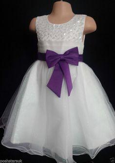 Cadbury Purple Flower Girl Bridesmaid Communion Prom Wedding Party Dress 3-13y