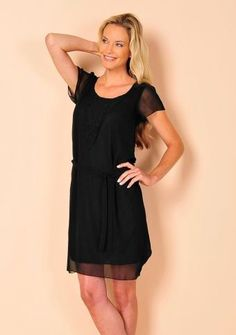 Voálové šaty s potiskem #ModinoCZ #fashion #dress #elegance #black #littleblackdress #saty #moda #cerna #klasika