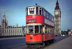 A tram during last tram week in July 1952 on its way to Abbey Wood in south London Old London, London Bus, Vintage London, South London, London Transport, Public Transport, London Underground Stations, Underground Tube, Westminster Bridge