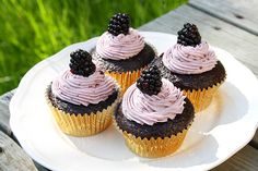 Chocolate cupcakes with blackberry buttercream