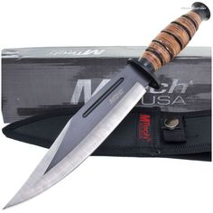 MTech MT-20-19C Military Combat Bowie Knife w/ Stacked Leather Handle | MooseCreekGear.com | Outdoor Gear — Worldwide Delivery! | Pocket Knives - Fixed Blade Knives - Folding Knives - Survival Gear - Tactical Gear